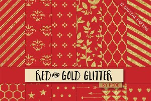 Red and gold glitter.