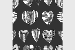 Background hand drawn hearts