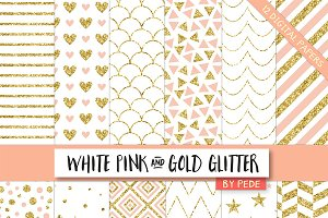 White pink and gold glitter.