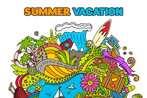 Doodle Summer Vacation Illustrations