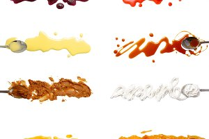 Set of 8 sweet sauces and toppings