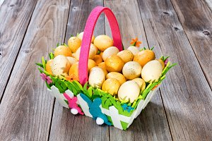Happy Easter Basket with Eggs
