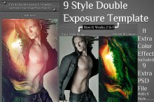 9 Style Double Exposure Template