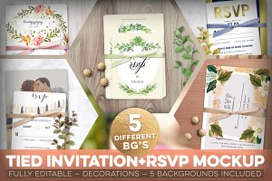 Tied Invitation+RSVP Mockup