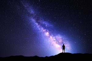 Milky Way with silhouette of a man