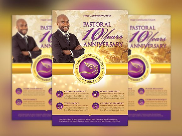 Clergy Anniversary Flyer Template Flyer Templates Creative Market – Anniversary Flyer