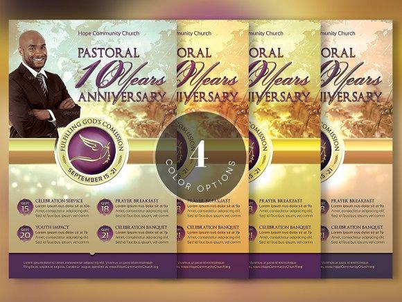 Clergy Anniversary Flyer Template Flyer Templates on Creative Market – Anniversary Flyer