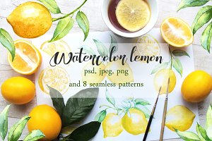 Watercolor lemon set.