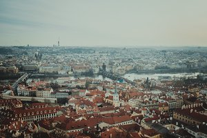 red roofs. Prague