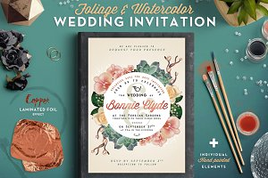 Foliage & Watercolor Wedding Invite