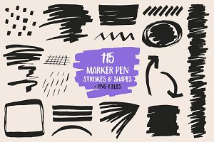 Marker pen strokes and shapes.