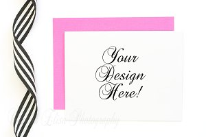 pink envelope mockup, styled stock