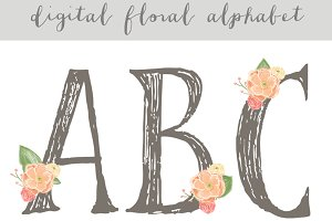Floral Alphabet - Digital Alphabet