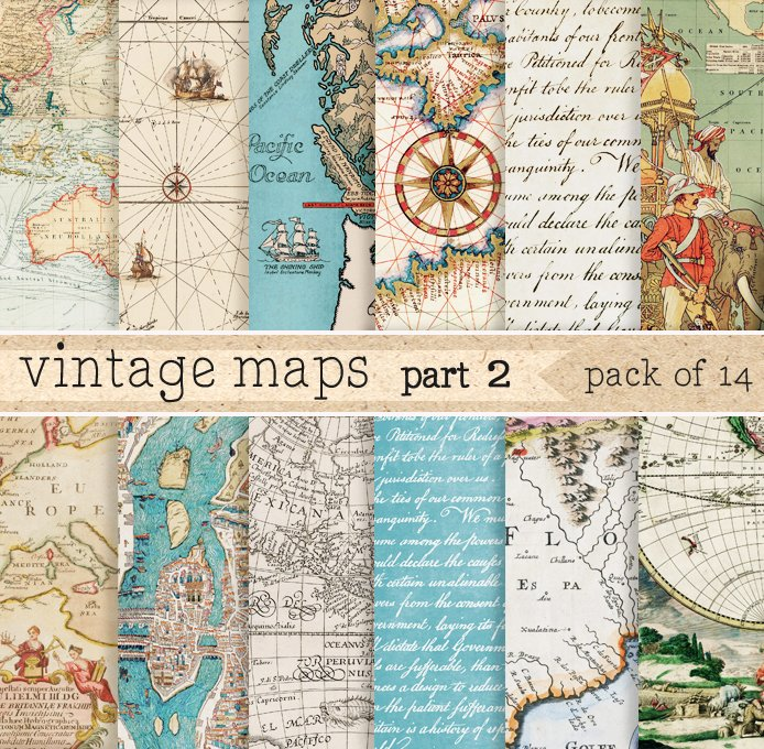 Vintage maps digital paper patterns creative market gumiabroncs Image collections