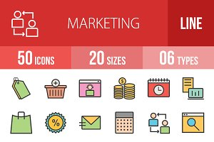 50 Marketing Line Filled Icons
