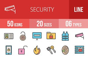 50 Security Line Filled Icons
