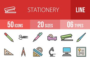 50 Stationery Line Filled Icons