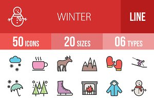 50 Winter Line Filled Icons