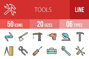 50 Tools Line Filled Icons