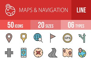 50 Maps&Navigation Line Filled Icons