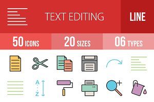 50 Text Editing Line Filled Icons