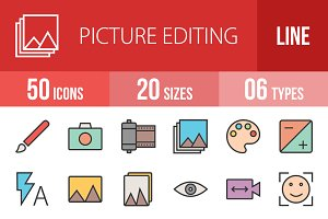 50 Picture Editing Line Filled Icons