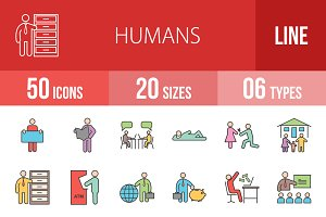 50 Humans Line Filled Icons