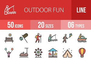 50 Outdoor Fun Line Filled Icons