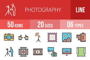 50 Photography Line Filled Icons