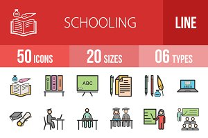 50 Schooling Line Filled Icons