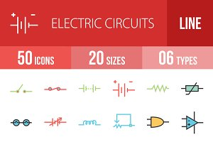 50 Electric Circuit Line Filled Icon