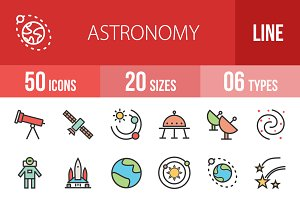 50 Astronomy Line Filled Icons