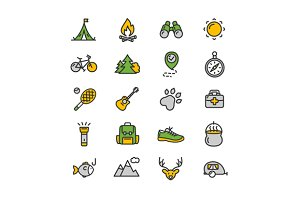 Camping Tourism Hiking Icon Set