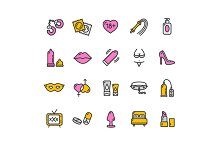 Intim or Sex Shop Icon Set. Vector