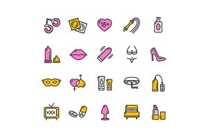 Intim or Sex Shop Icon Set. Vector
