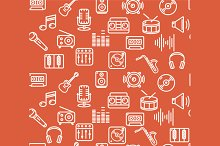 Music Background Outline Icon Set.