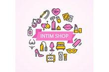 Intim or Sex Shop Concept. Vector