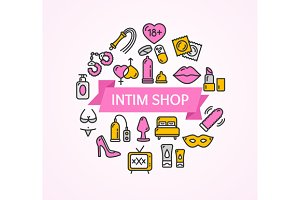 Intim or Sex Shop Concept. Vector