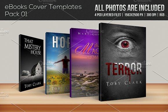 4 ebook cover templates pack 01 templates on creative market. Black Bedroom Furniture Sets. Home Design Ideas