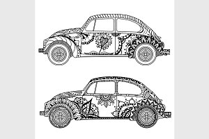 Vintage car in Tangle Patterns style