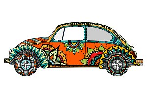 Vintage car in Tangle Patterns