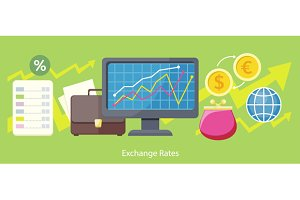 Exchange Rates Design Flat Concept