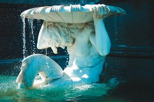 Fountain in day sunlight
