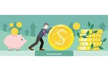 Investment Money Coin Gold Design