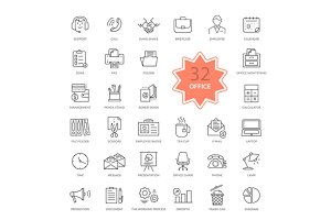 Set of 32 Office Items Icons