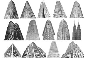 Skyscrapers- vector/brush set
