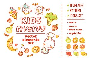 Kids Menu BIG vector elements set