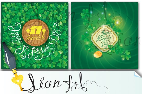 2 cards. Happy St. Patrick`s Day - Cards