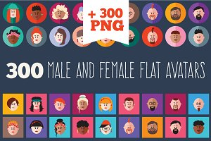 300 male and female flat icon set.