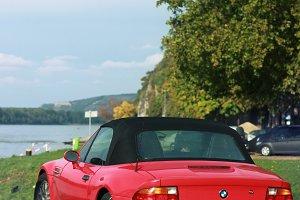 A red BMW Cabrio